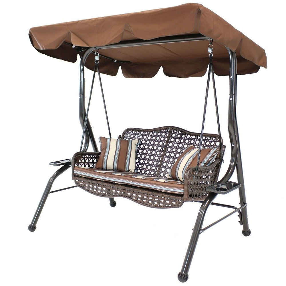 Recent 2 Person Rattan Patio Swing With Adjustable Tilt Canopy And With Regard To 2 Person Adjustable Tilt Canopy Patio Loveseat Porch Swings (View 5 of 30)