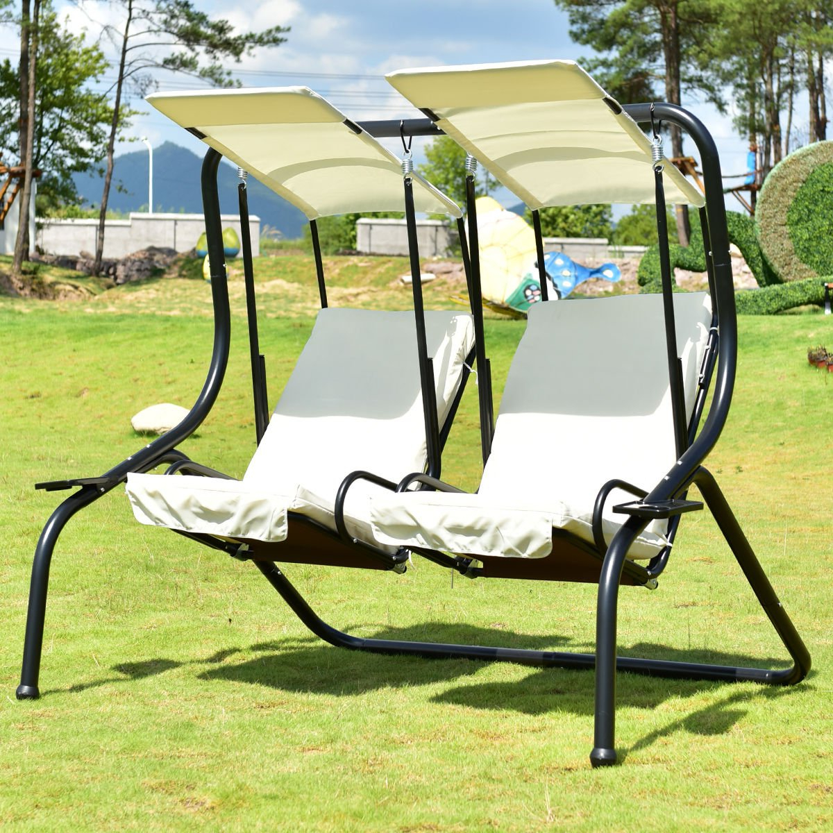 Recent 3 Person Red With Brown Powder Coated Frame Steel Outdoor Swings In Tangkula 3 Person Patio Swing Glider Outdoor Swing Hammock (View 24 of 30)