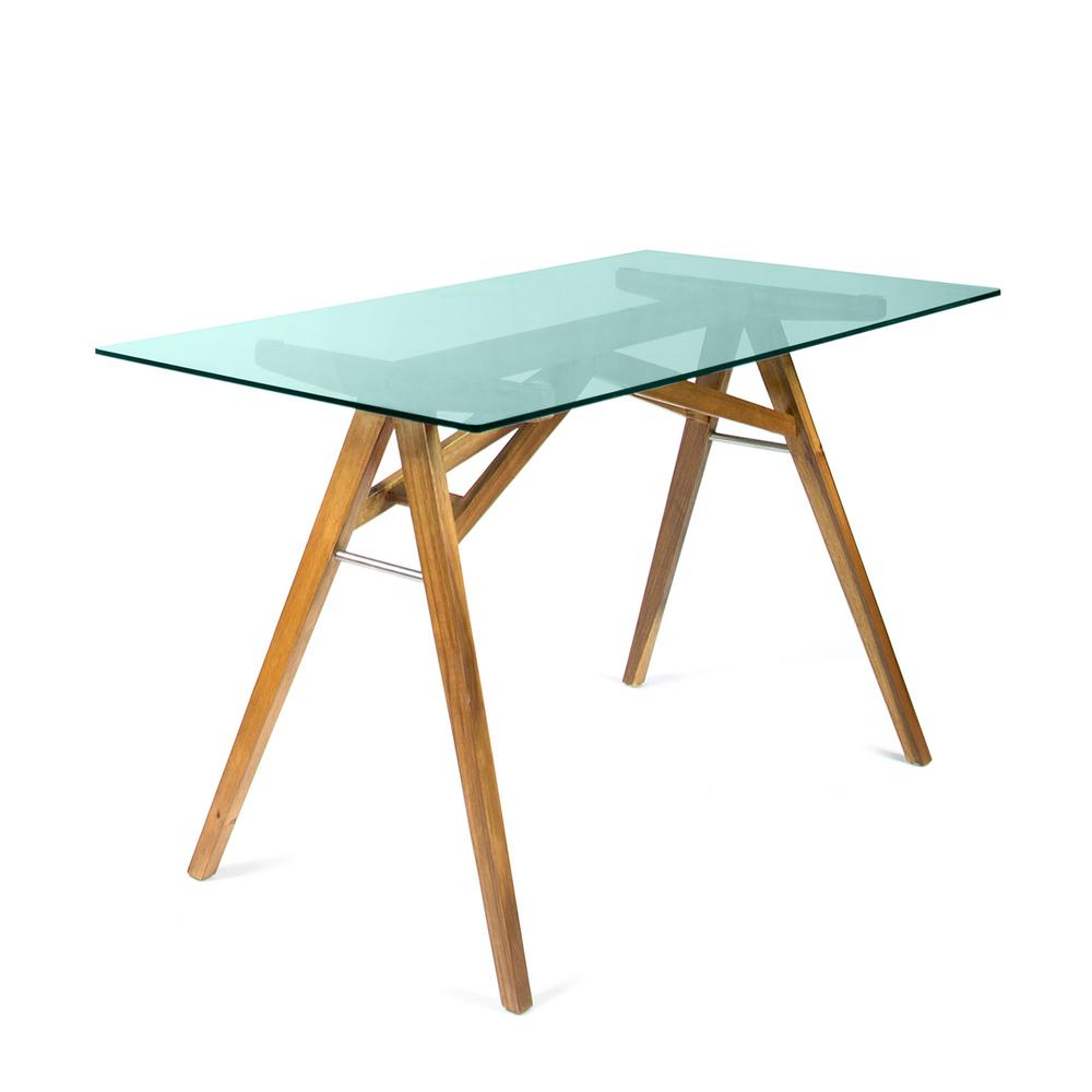 Recent Acacia Wood Medley Medium Dining Tables With Metal Base For Noble House Camila Mid Century Modern Dusk Gray Tempered (View 15 of 30)