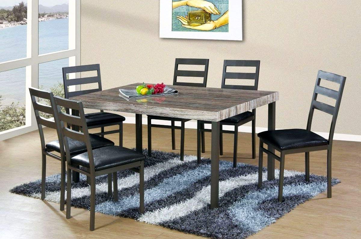 Recent Amazon – Lifestyle Furniture Loft Dining Table & 4 With Regard To Charcoal Transitional 6 Seating Rectangular Dining Tables (View 7 of 30)