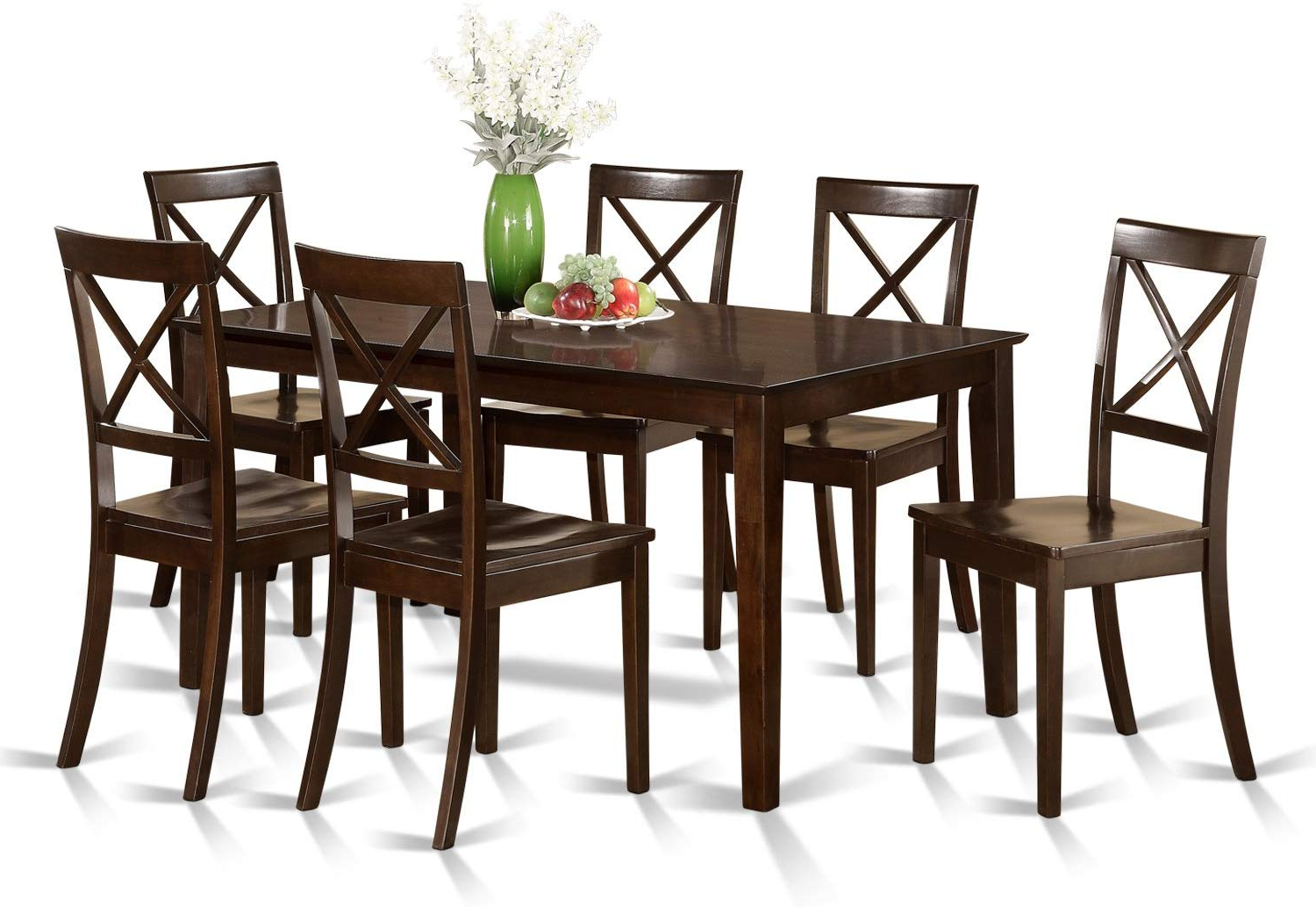 Recent Cab7S Cap W 7 Pc Formal Dining Room Set – Table And 6 Formal Dining Chairs Regarding Cappuccino Finish Wood Classic Casual Dining Tables (View 24 of 30)