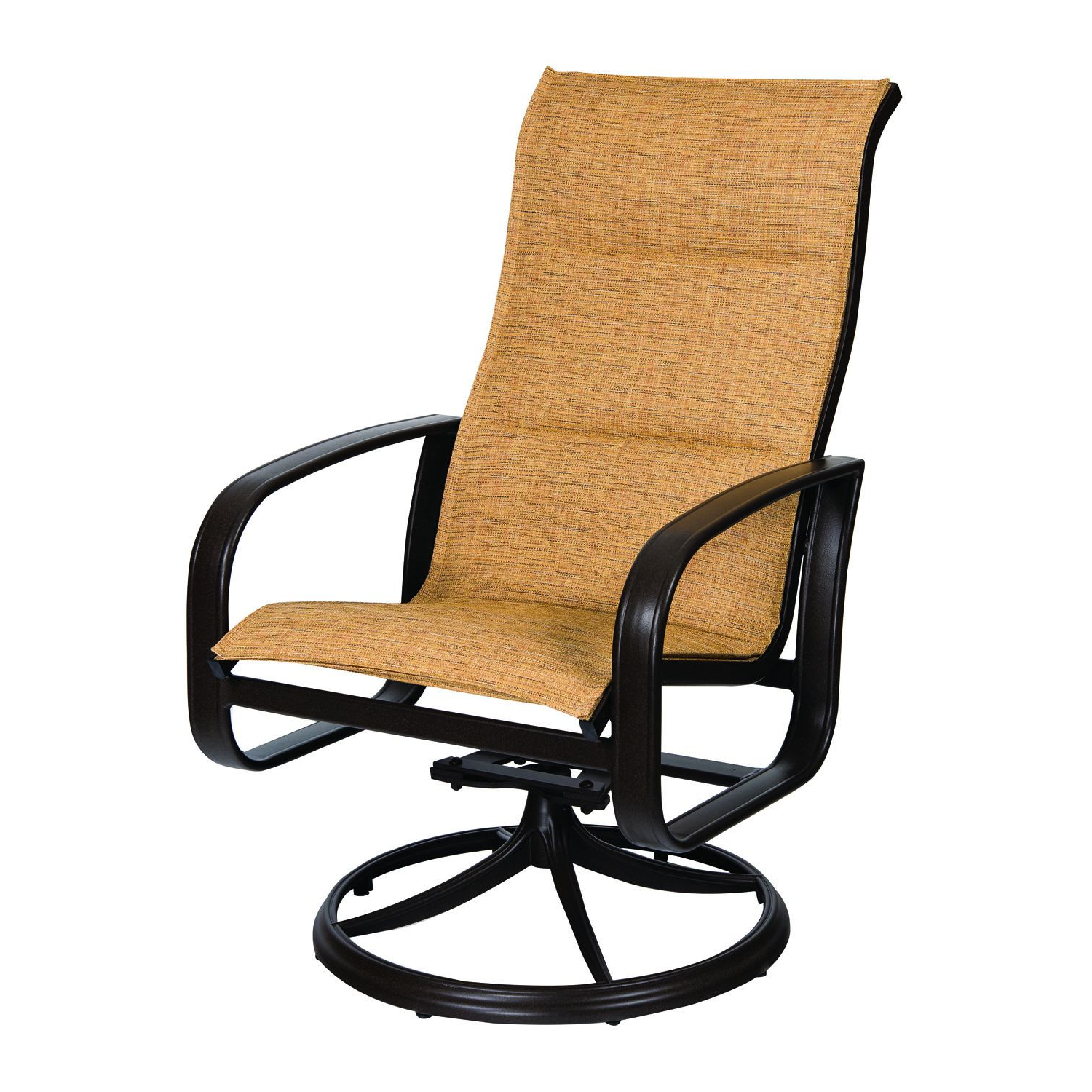 Recent Cayman Isle Padded Sling High Back Swivel Rocking Dining Armchair Within Sling High Back Swivel Chairs (View 11 of 30)