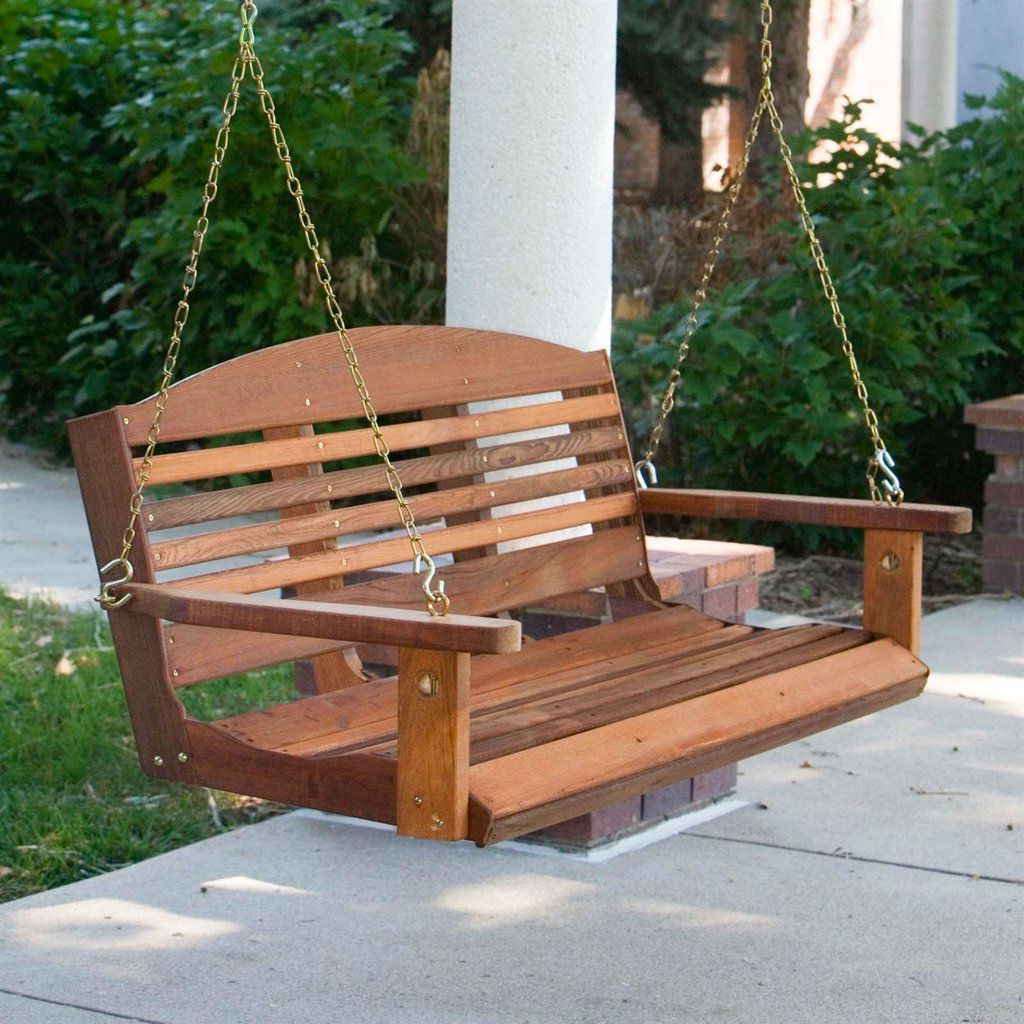 Recent Classic 4 Ft Porch Swing In Red Cedar Wood – Amish Made In Throughout Classic Porch Swings (View 20 of 30)