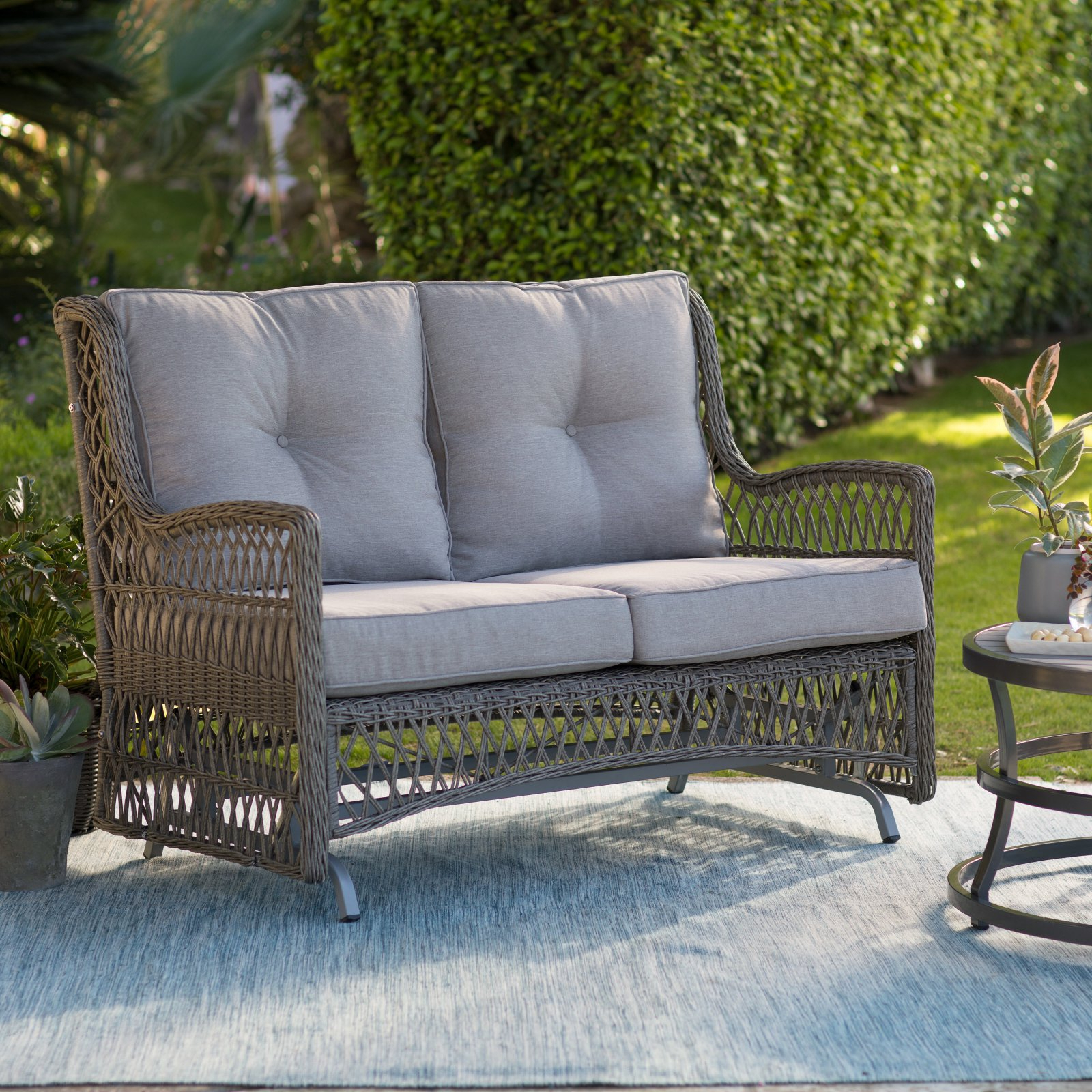 Recent Double Glider Benches With Cushion In Belham Living Bristol Outdoor Glider Bench With Cushions (View 9 of 30)