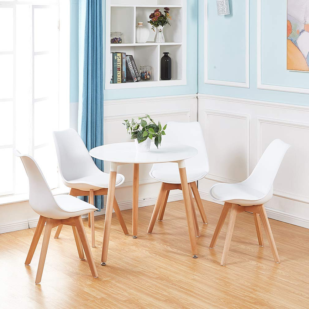 Recent Elegance Small Round Dining Tables Within Details About White Round Dining Table And 4 Dining Chairs Retro Solid Wood For Small Kitchen (View 17 of 30)