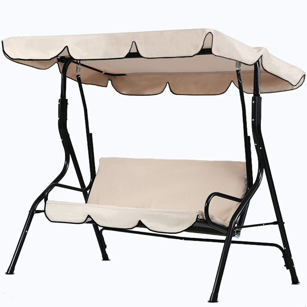 Recent Fdw Patio Swing Canopy Glider Hammock Chair Patio Backyard For 2 Person Outdoor Convertible Canopy Swing Gliders With Removable Cushions Beige (View 21 of 30)
