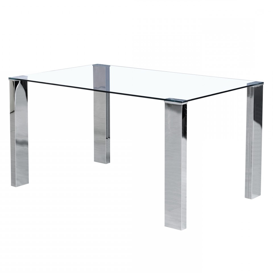Recent Frankfurt Rectangular Dining Table In Stainless Steel Within Steel And Glass Rectangle Dining Tables (View 25 of 30)