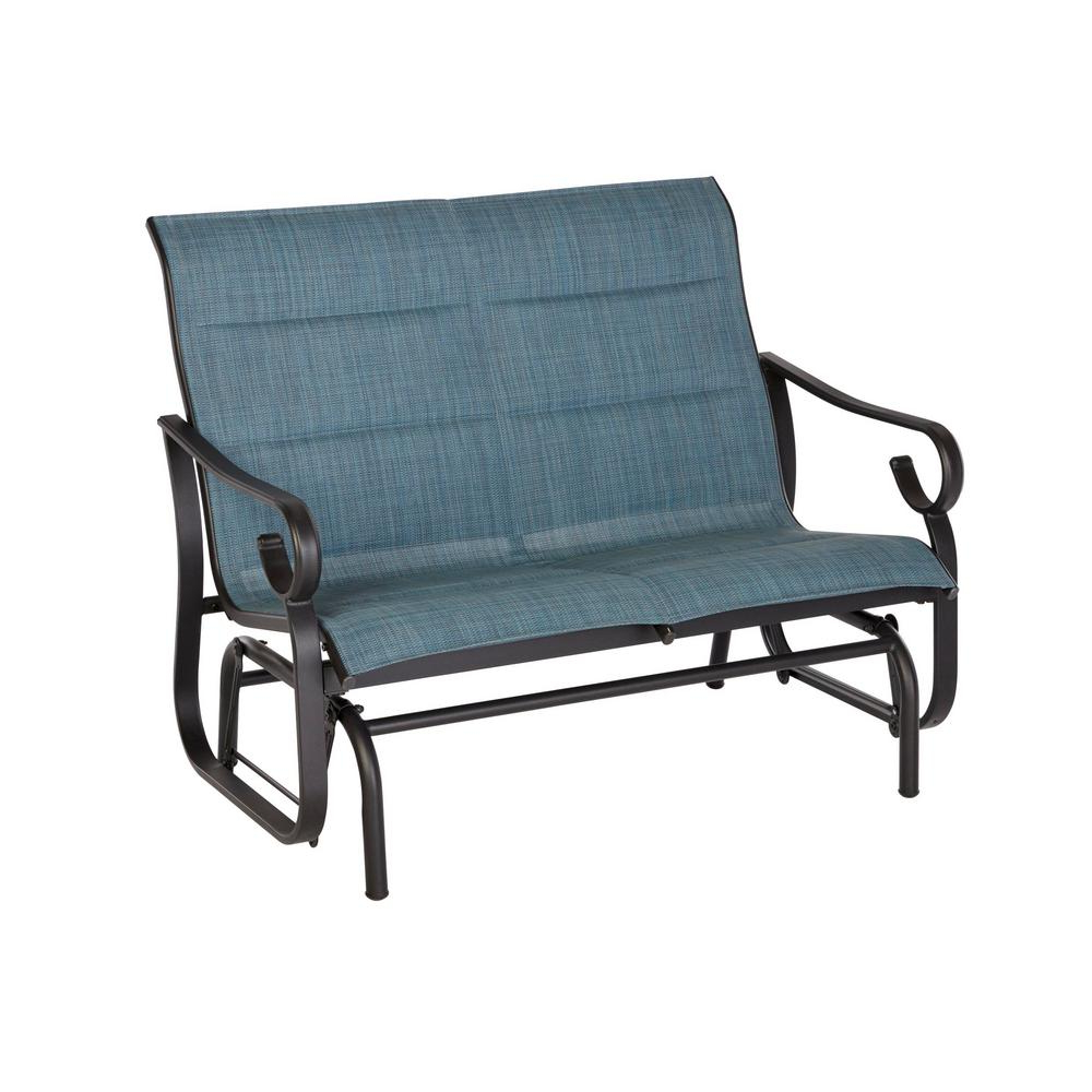Recent Hampton Bay Crestridge Padded Sling Outdoor Glider In Conley Denim Regarding Sling Double Glider Benches (View 19 of 30)