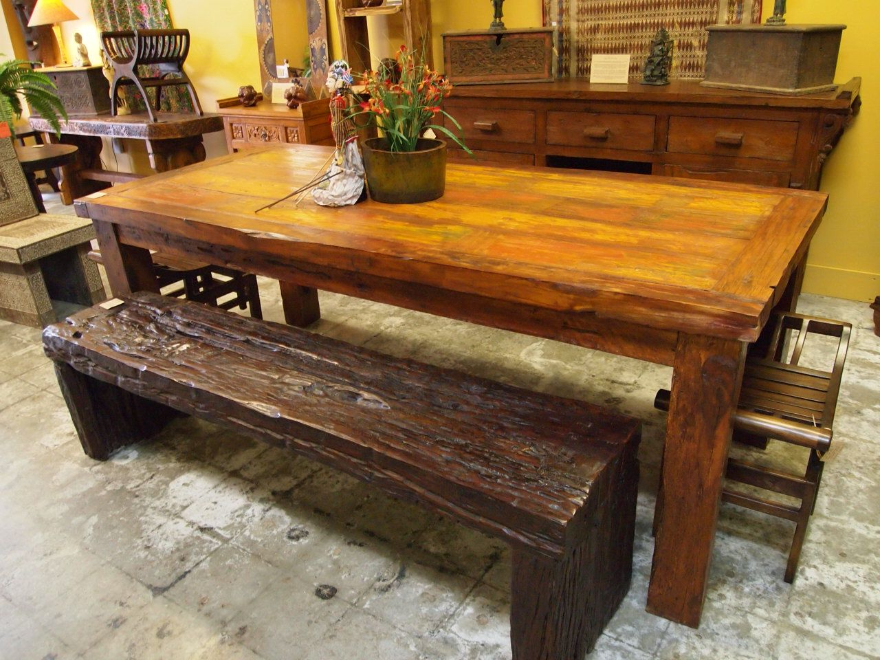 Recent Iron Wood Dining Tables Intended For Reclaimed Wood Dining Table & Rustic Ironwood Bench (View 4 of 30)