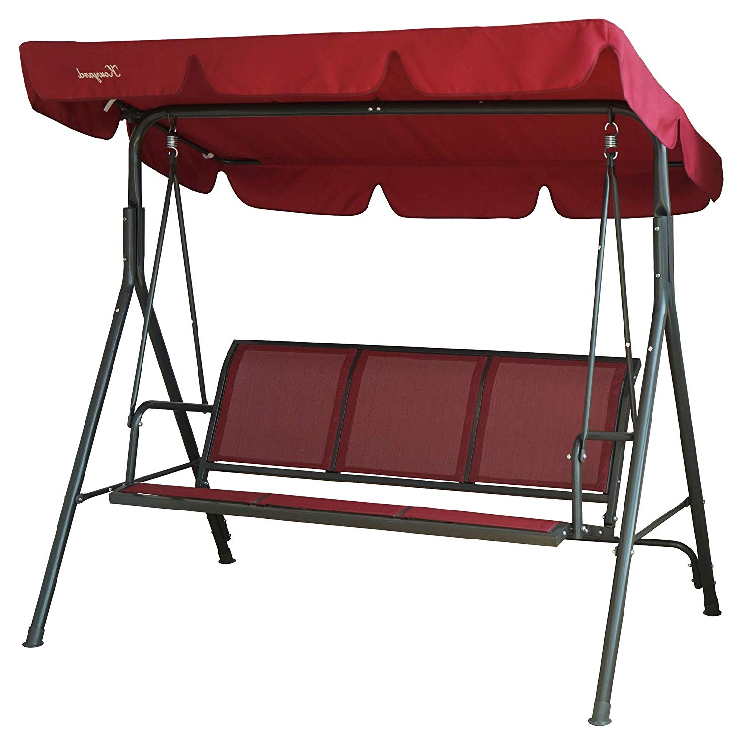 Recent Kozyard Belle 3 Person Outdoor Patio Swing With Strong Weather Resistant Powder Coated Steel Frame And Textilence Seats (red) For 3 Person Red With Brown Powder Coated Frame Steel Outdoor Swings (View 11 of 30)