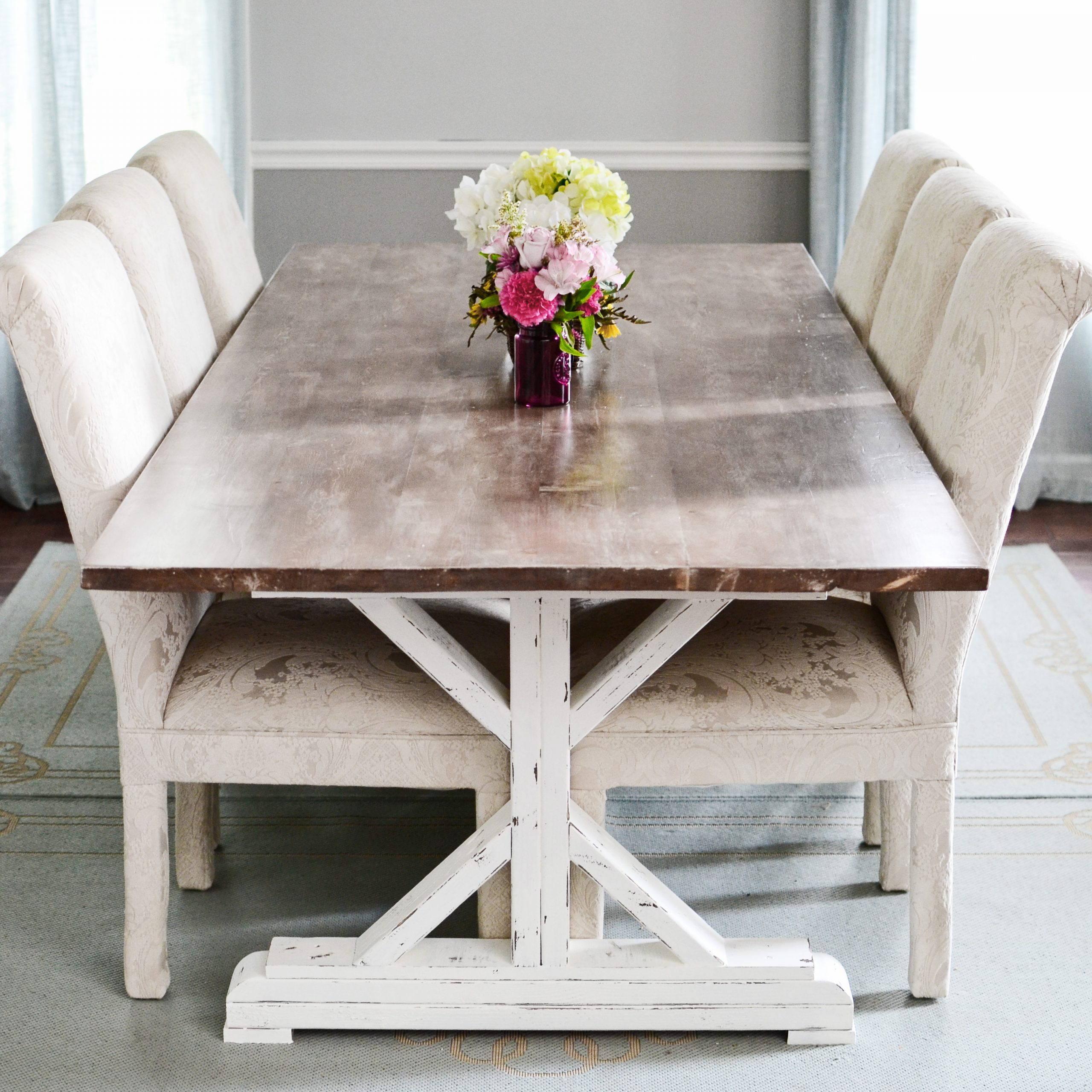 Recent Medium Elegant Dining Tables Regarding How To Paint, Stain, Whitewash & Distress A Fancy X (View 27 of 30)