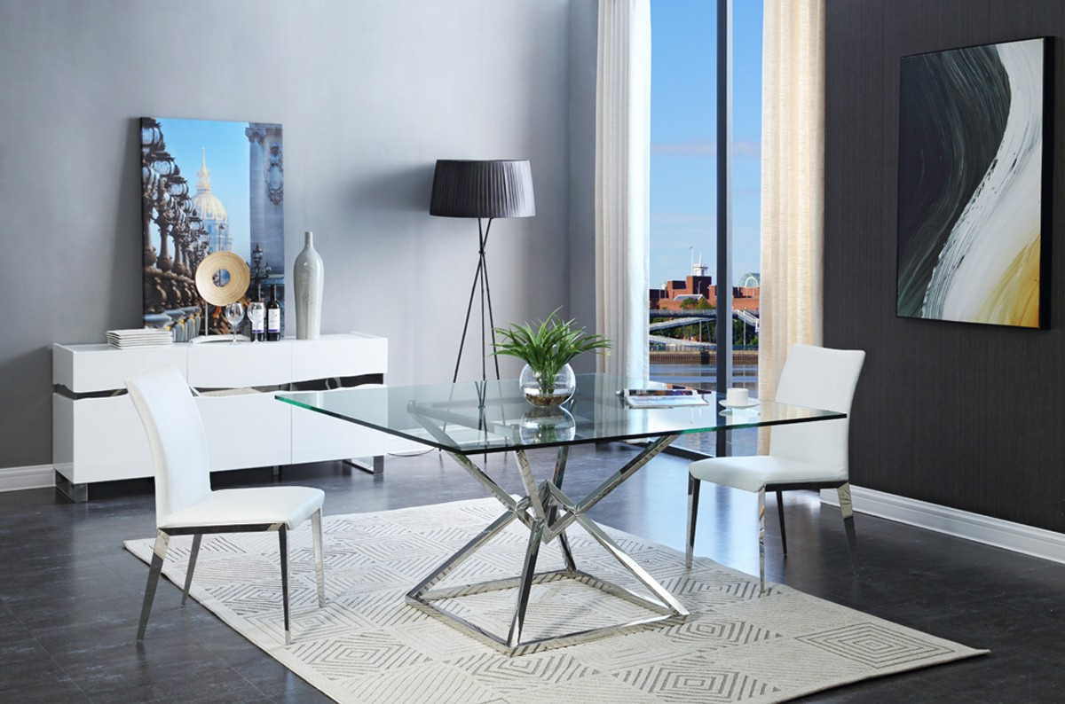 Recent Modrest Xander Modern Square Glass Dining Table With Contemporary 4 Seating Square Dining Tables (View 23 of 30)