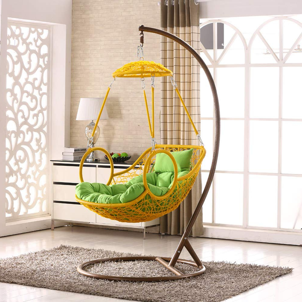 Recent Outdoor Wicker Plastic Half Moon Leaf Shape Porch Swings Throughout Amazon: Smgpyhwyp Grey Colour Rattan Swing Chair (View 5 of 30)