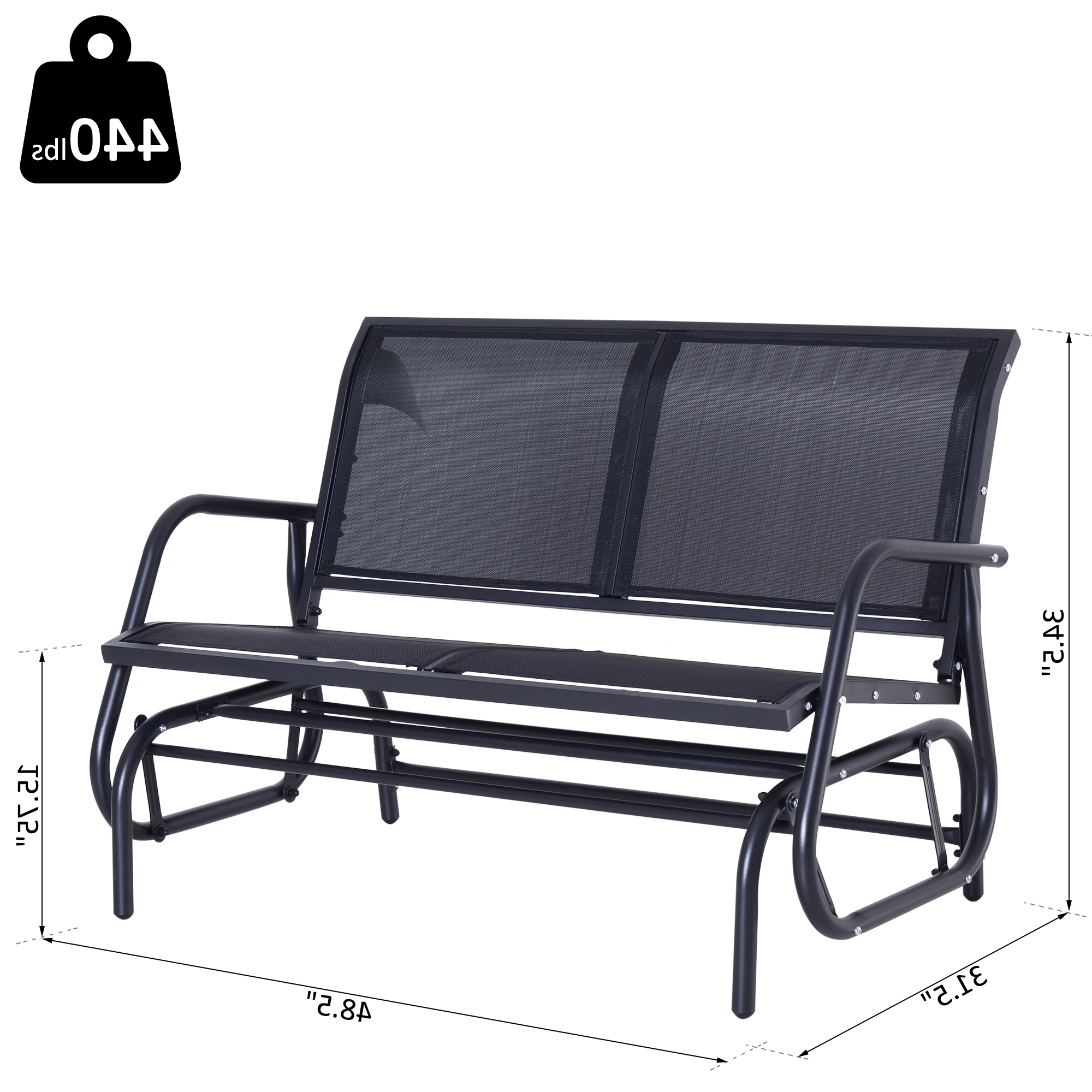 Recent Outsunny Steel Sling Fabric Outdoor Double Glider Rocking In Sling Double Glider Benches (View 10 of 30)
