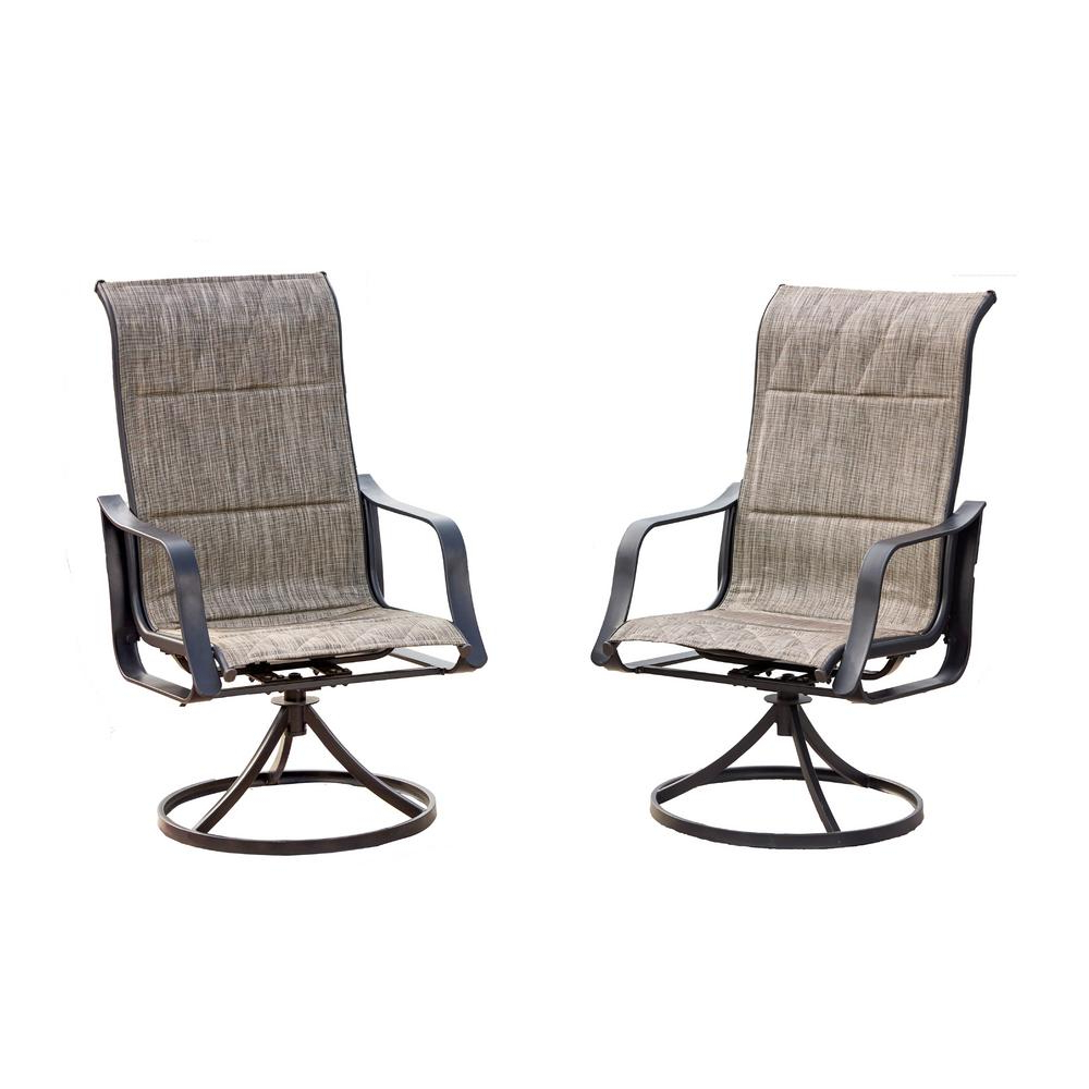 Recent Patio Festival Swivel Padded Sling Outdoor Dining Chair In Gray (2 Pack) Intended For Padded Sling High Back Swivel Chairs (View 30 of 30)