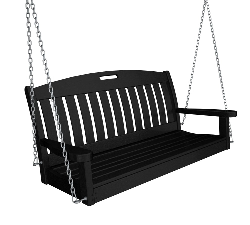 """Recent Polywood Ns48ma Nautical 48"""" Swing Throughout Vineyard 2 Person Black Recycled Plastic Outdoor Swings (View 18 of 30)"""
