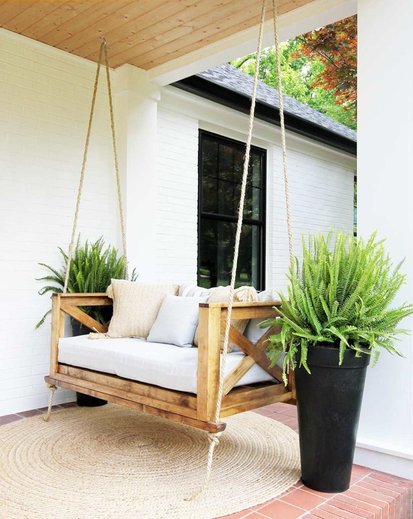 Recent Porch Swings Pertaining To How To Hang A Porch Swing – Plank And Pillow (View 4 of 30)