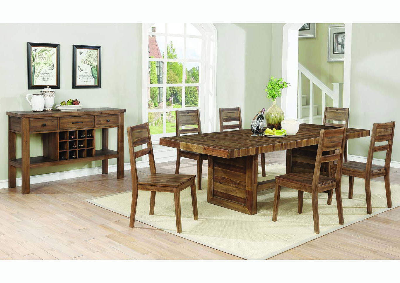"Recent R&j International Furniture Varied Natural 88"" Rectangular With Coaster Contemporary 6 Seating Rectangular Casual Dining Tables (View 26 of 30)"
