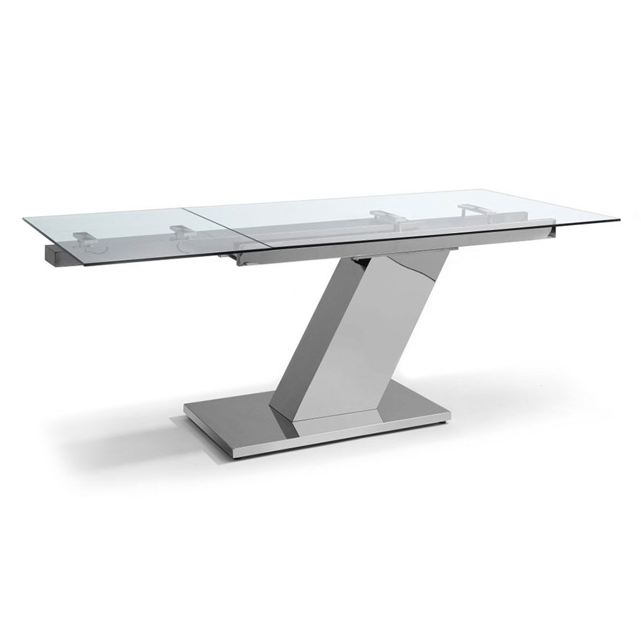 Recent Sleek Extension Table Throughout Modern Glass Top Extension Dining Tables In Stainless (View 27 of 30)