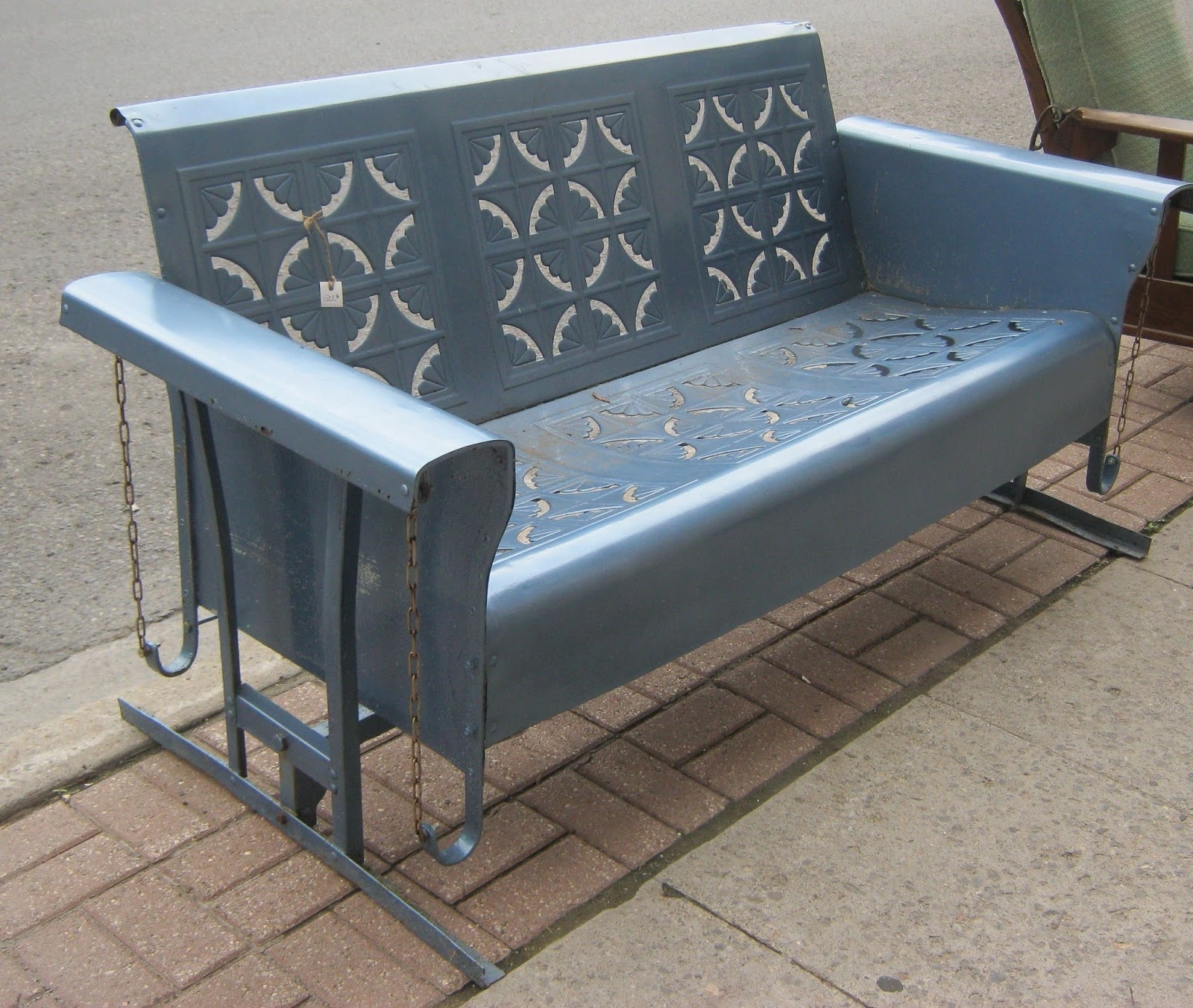 Recent Steel Patio Swing Glider Benches Pertaining To Vintage Metal Porch Glider — Randolph Indoor And Outdoor Design (View 13 of 30)