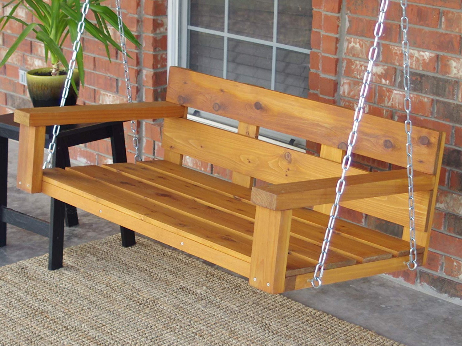 Recent Three Man Ranch Style Cedar Porch Swing With Chain – 6 Ft With Stain & Sealant – Cedar Naturaltone With Regard To Porch Swings With Chain (View 5 of 30)