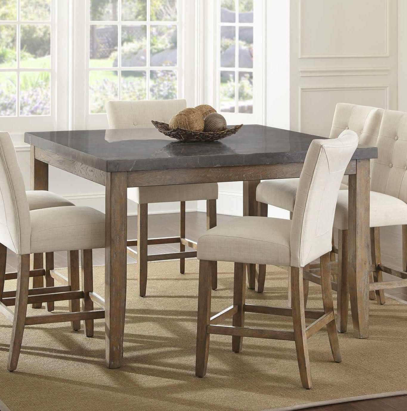 Recent Transitional Driftwood Casual Dining Tables Throughout Steve Silver Debby Driftwood Counter Height Table (View 17 of 30)
