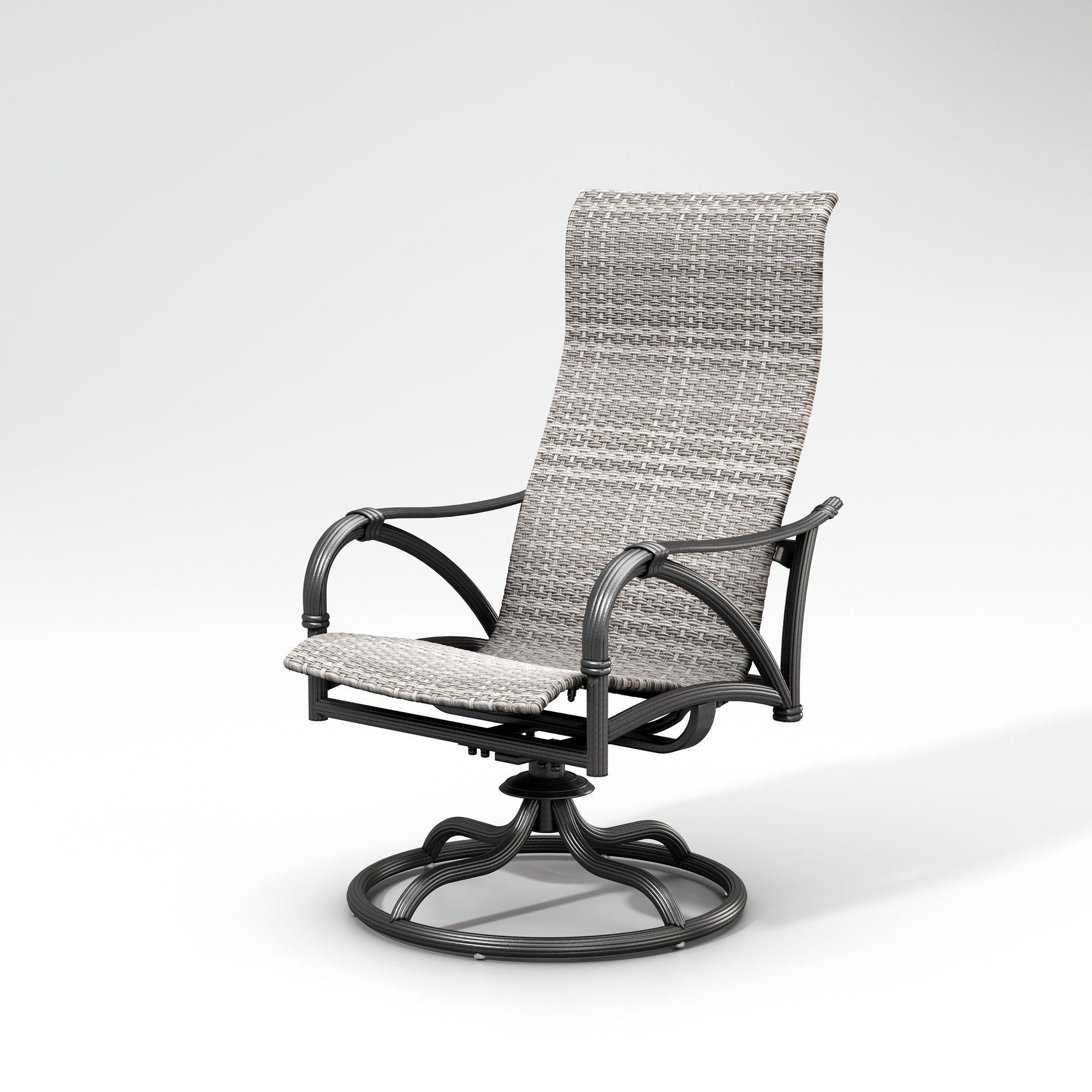 Recent Woven High Back Swivel Chairs Inside Shiffer High Back Rocker Woven Swivel Patio Dining Chair (View 12 of 30)