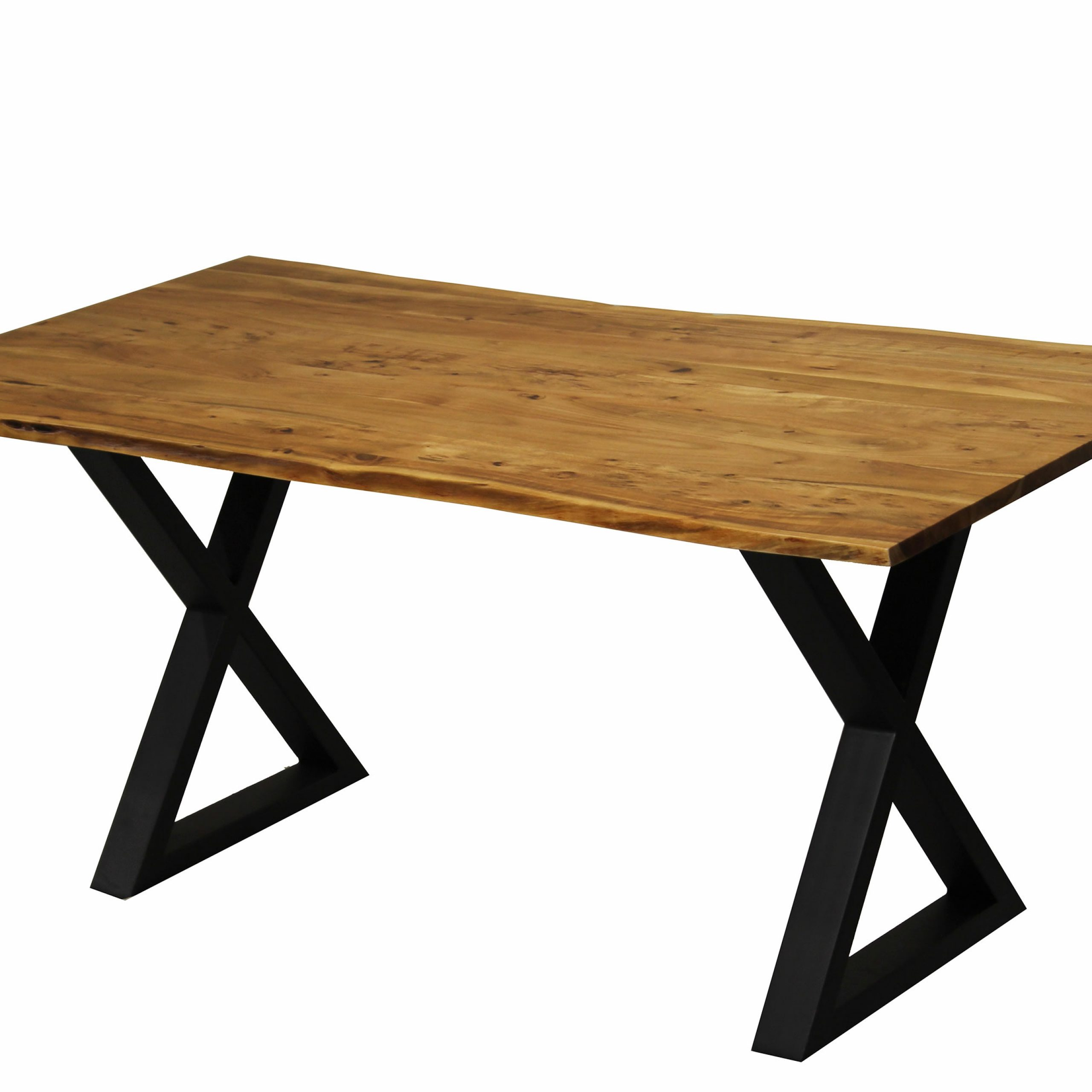 Recent Zen Live Edge 67 Inches Dining Table (acacia – Black X Legs) With Regard To Acacia Dining Tables With Black Legs (View 5 of 30)