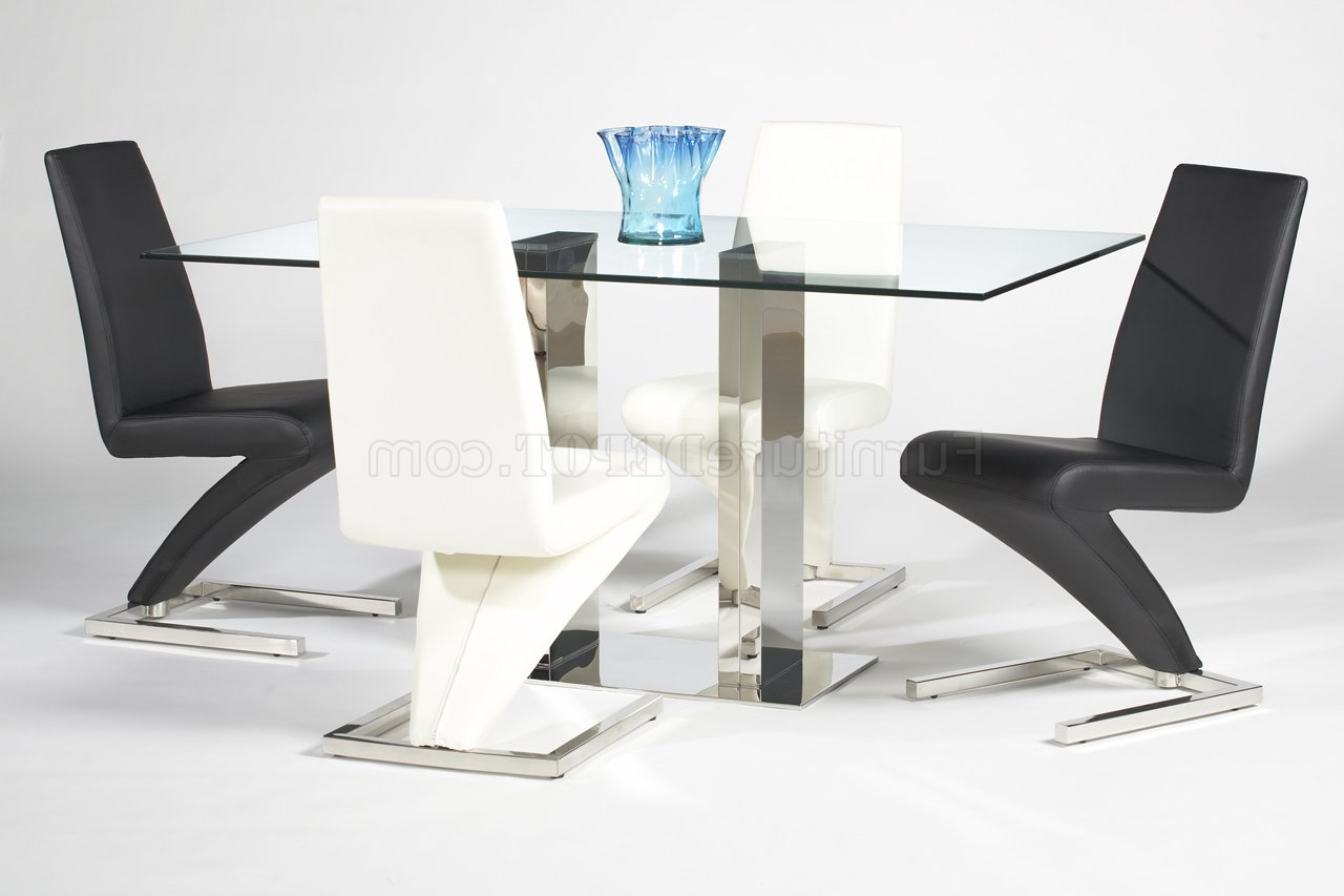 Rectangular Glass Top Modern Dining Table W/optional Side Chairs Inside Current Modern Gold Dining Tables With Clear Glass (View 26 of 30)