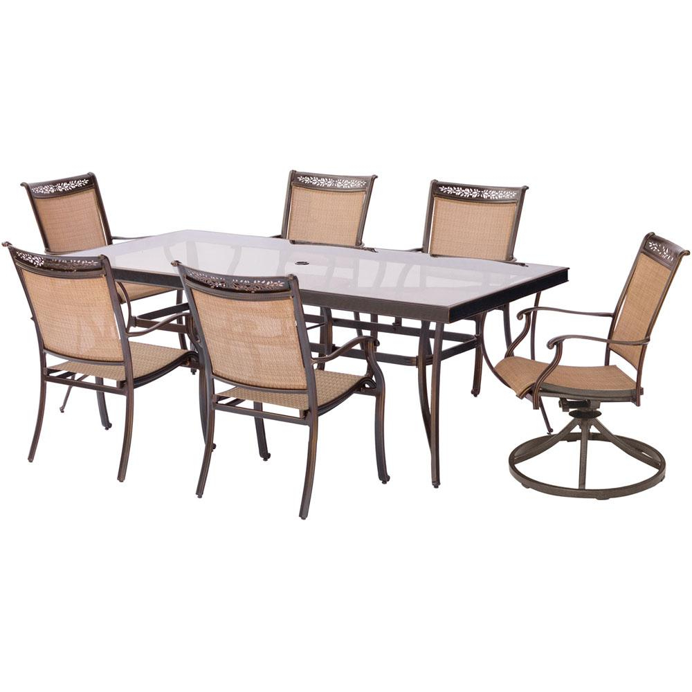 Rectangular Glasstop Dining Tables For Most Recently Released Hanover Fontana 7 Piece Aluminum Outdoor Dining Set With (View 22 of 30)