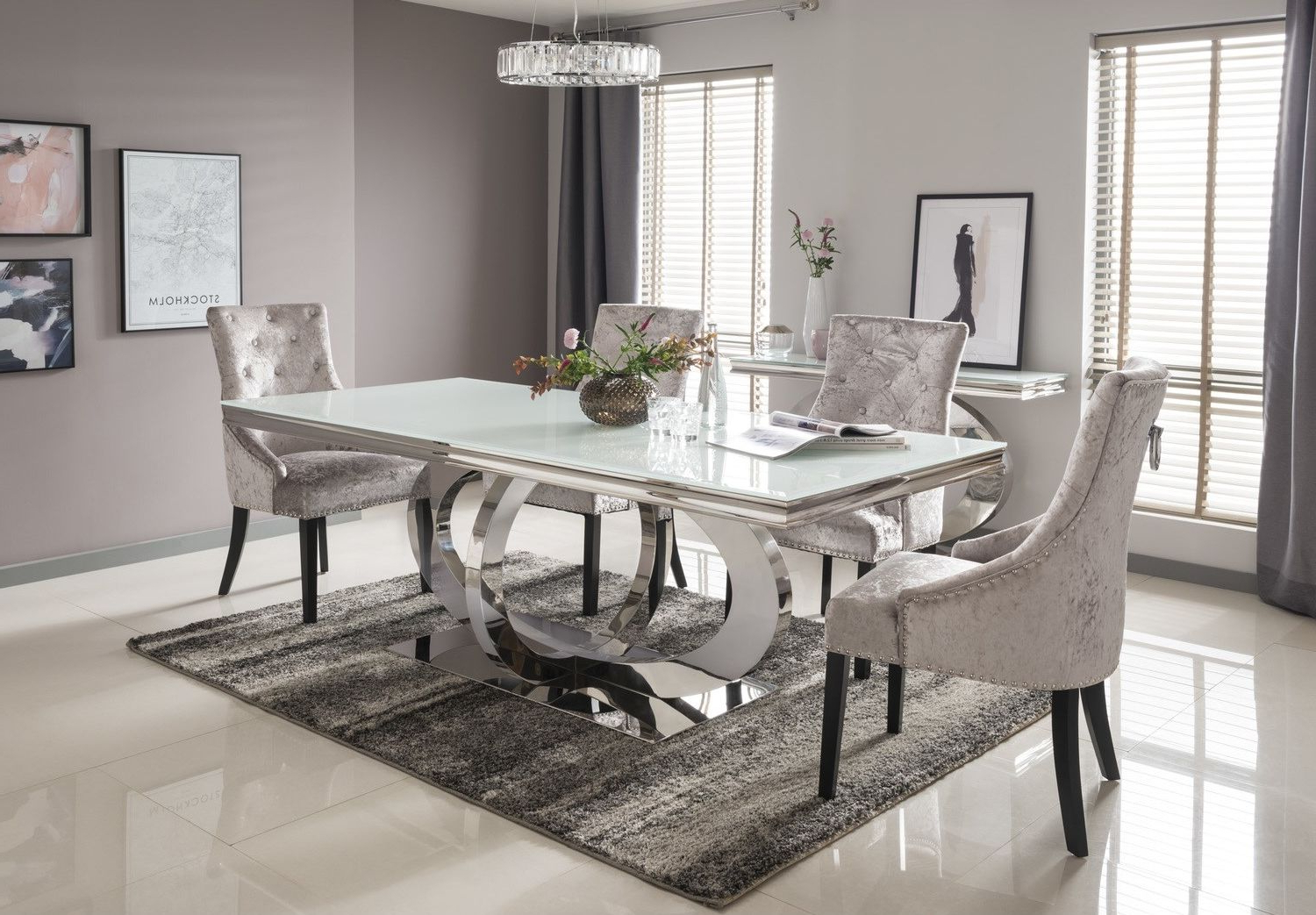 Rectangular Glasstop Dining Tables Regarding Recent Vida Living Orion White Glass Dining Table 180cm (View 6 of 30)