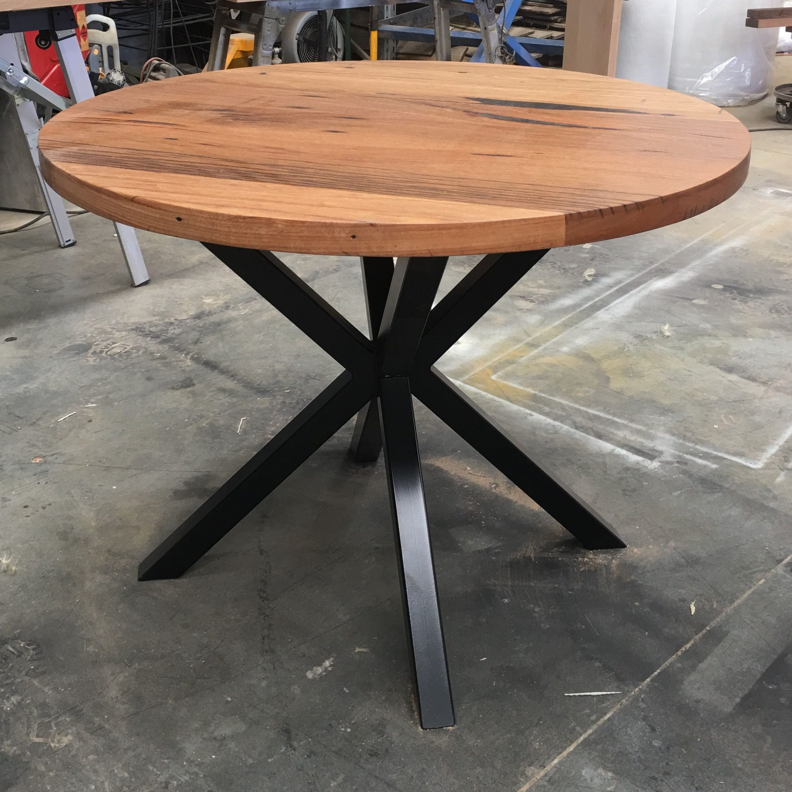 Recycled Messmate Dining Table With Black Cross Metal Legs Throughout 2018 Acacia Dining Tables With Black X Leg (View 29 of 30)