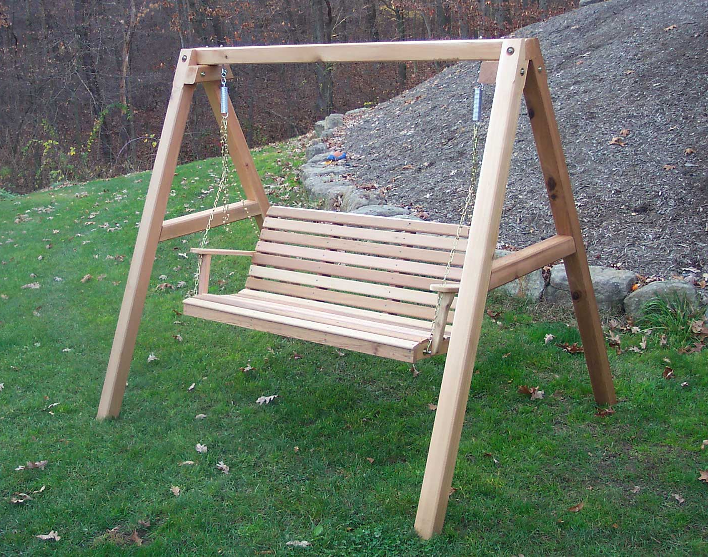Red Cedar American Classic Porch Swing W/stand Regarding Current Classic Porch Swings (View 23 of 30)