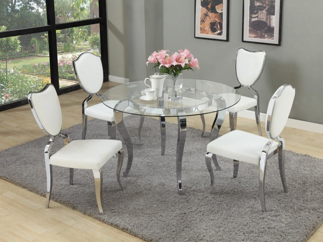 Refined Round Glass Top Dining Room Furniture Dinette Regarding Well Liked Modern Round Glass Top Dining Tables (View 18 of 30)