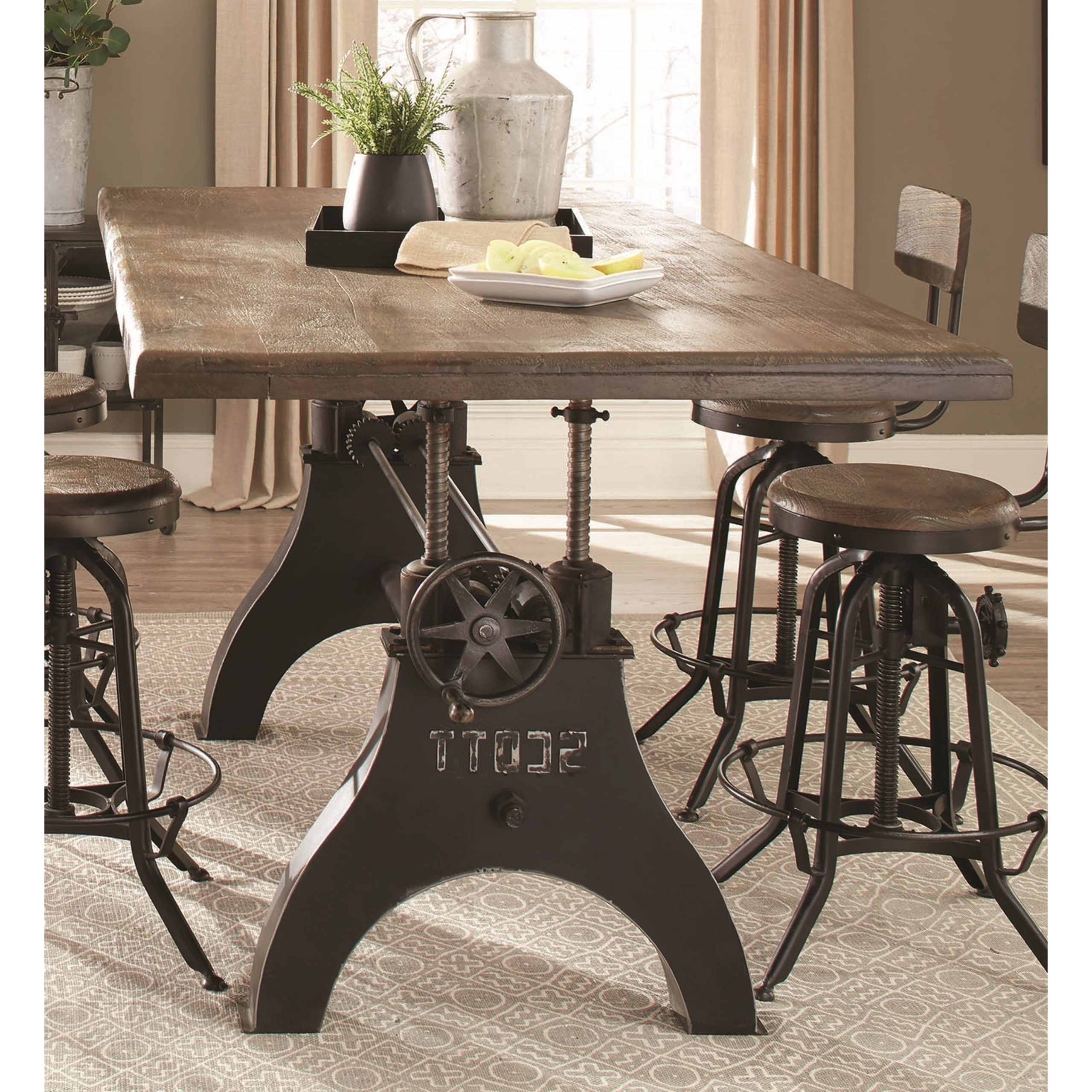 Retro Industrial Cast Iron Milling Machine Inspired Adjustable Height Dining Table Pertaining To Recent Iron Wood Dining Tables (View 14 of 30)