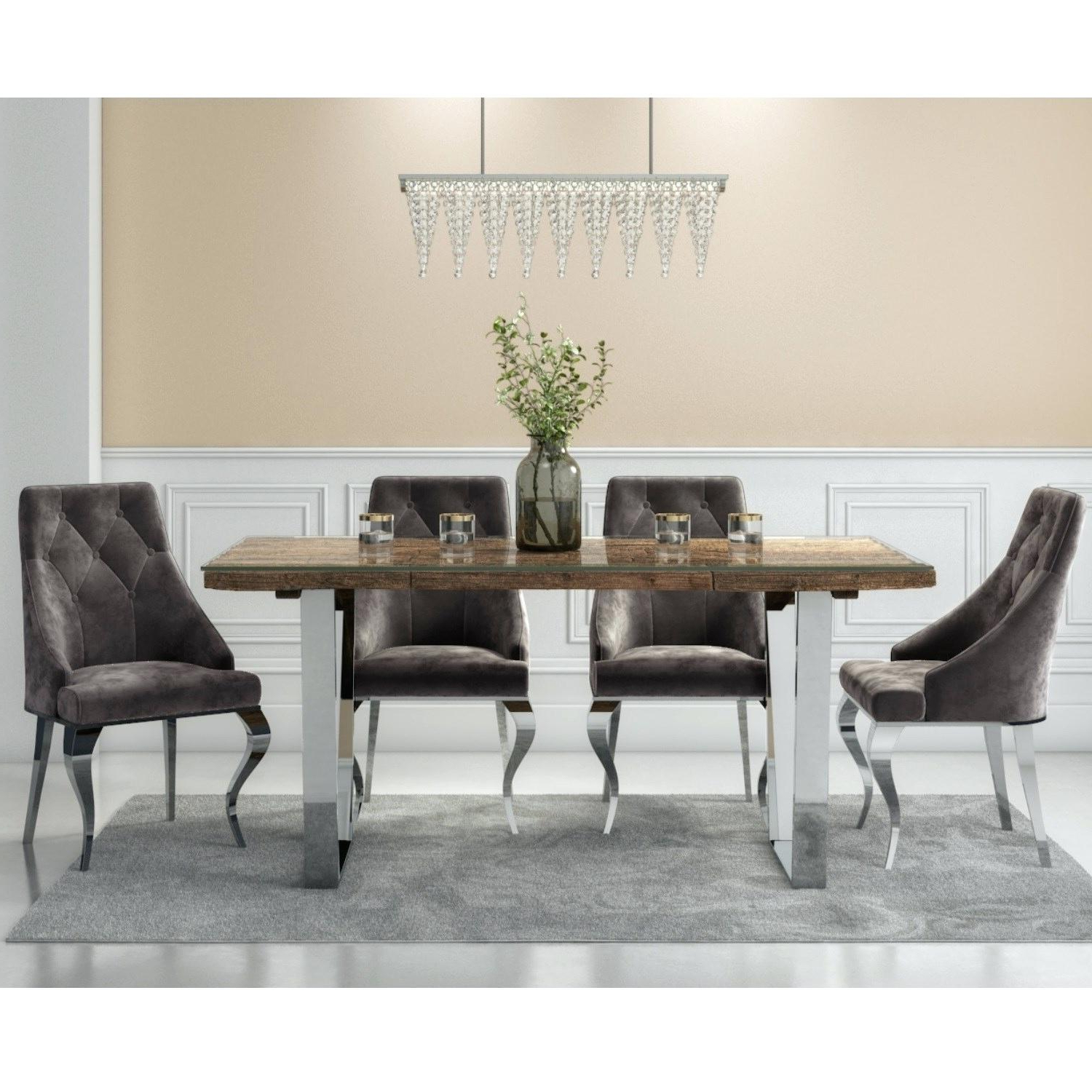 Retro Round Glasstop Dining Tables Intended For Most Recently Released Glass Top Dining Set – Babyde (View 20 of 30)