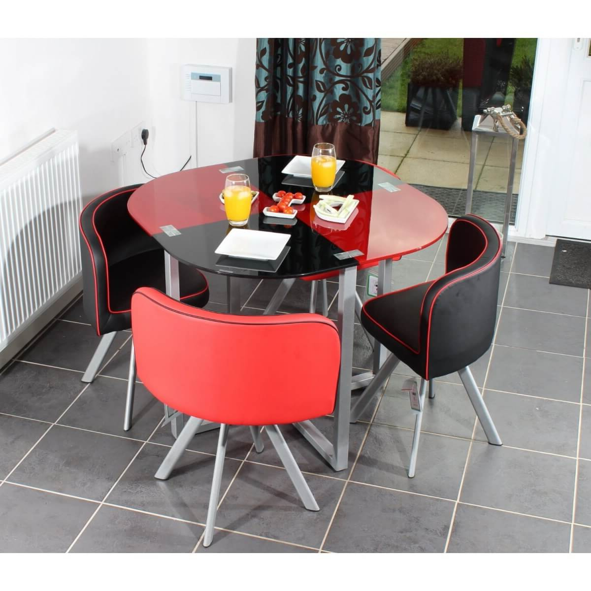 Retro Round Glasstop Dining Tables Throughout Most Current Round Red And Black Glossy Dining Table Addedthree Retro (View 12 of 30)