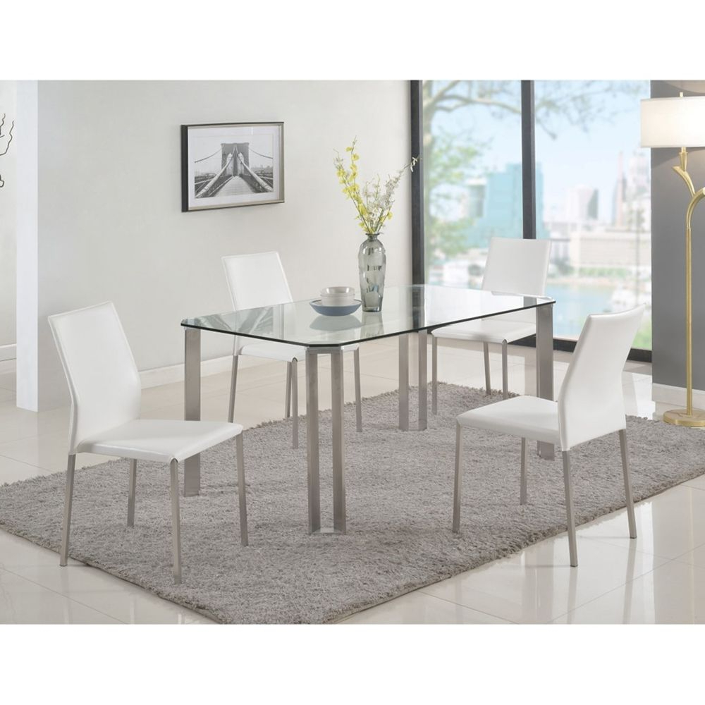 Rhonda Rectangular Dining Table – Glass Top, Brushed With Preferred Steel And Glass Rectangle Dining Tables (View 5 of 30)