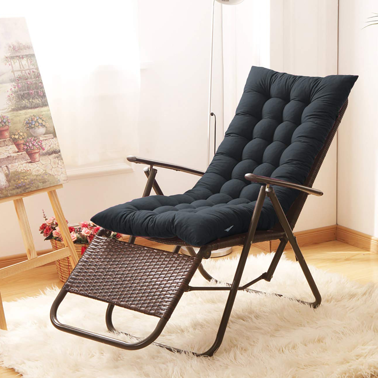 Rocking Benches With Cushions Intended For Favorite Uheng Indoor Outdoor Patio High Seat Back Chair Cushion For Rocking Chair  With 6 Ties, Thick Padded Chaise Lounger Swing Bench Cushion Loveseat (View 18 of 30)