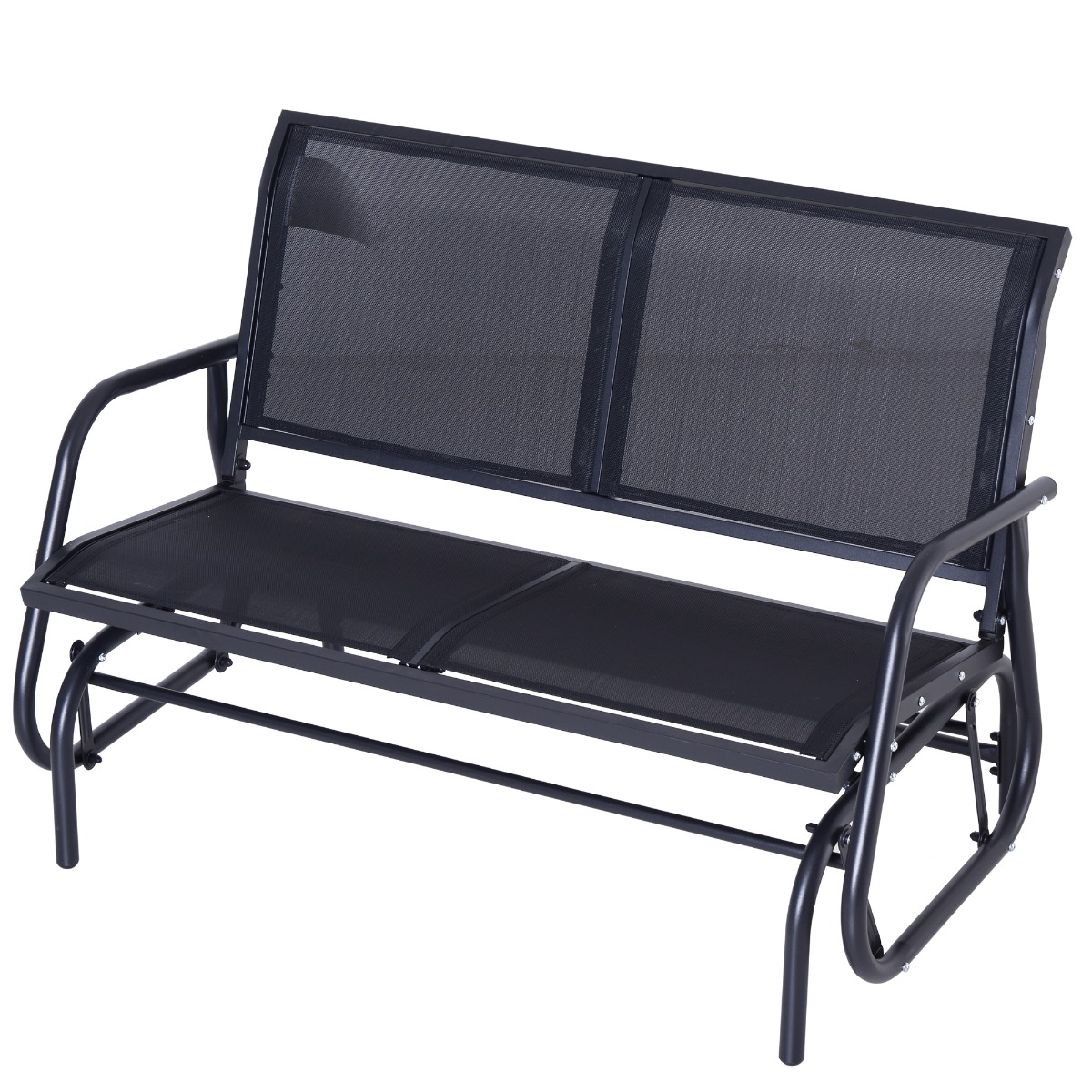 Rocking Love Seats Glider Swing Benches With Sturdy Frame In Most Current Outsunny Patio Double Glider Bench Swing Chair Rocker Heavy Duty Outdoor Garden Black (View 26 of 30)