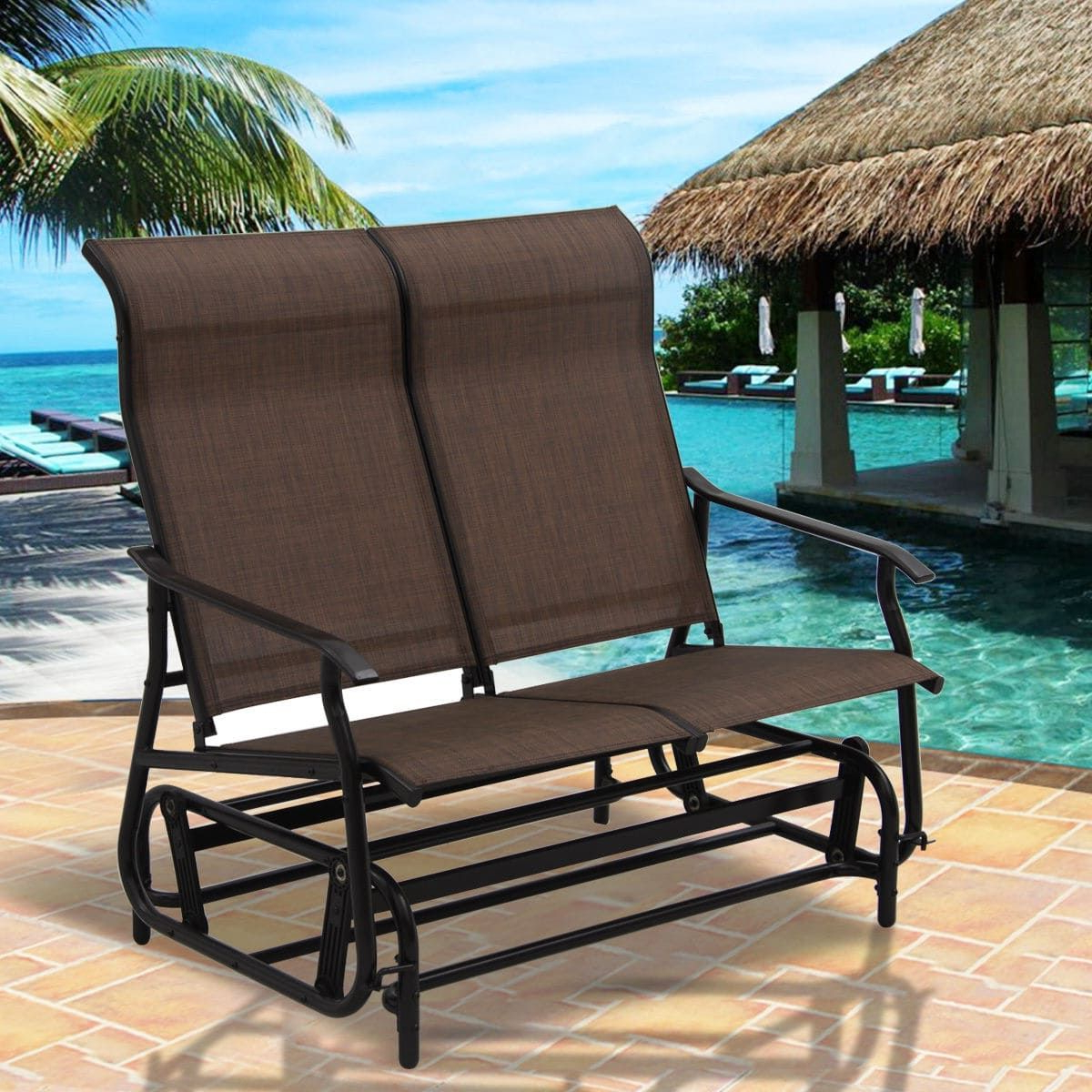 Rocking Love Seats Glider Swing Benches With Sturdy Frame Regarding Trendy Costway 2 Person Patio Glider Rocking Bench Double Chair (View 26 of 30)