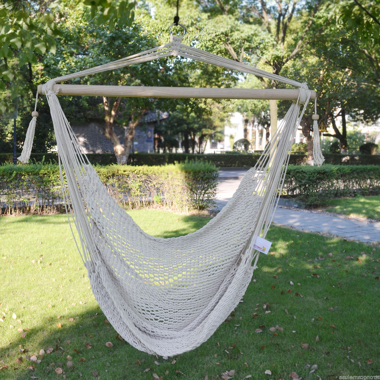 Rosean Porch Swings In Well Known Brand New Hanging Swing Cotton Rope Hammock Chair Patio Porch Garden Outdoor (View 14 of 30)