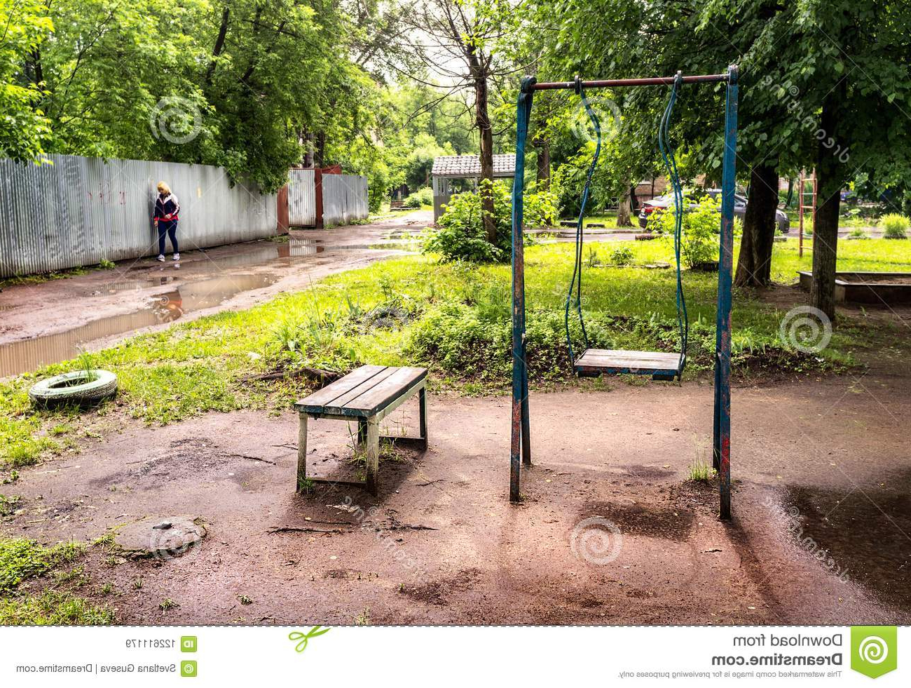 Rosean Porch Swings Pertaining To Widely Used Yard. Old Swings. Editorial Stock Image (View 11 of 30)