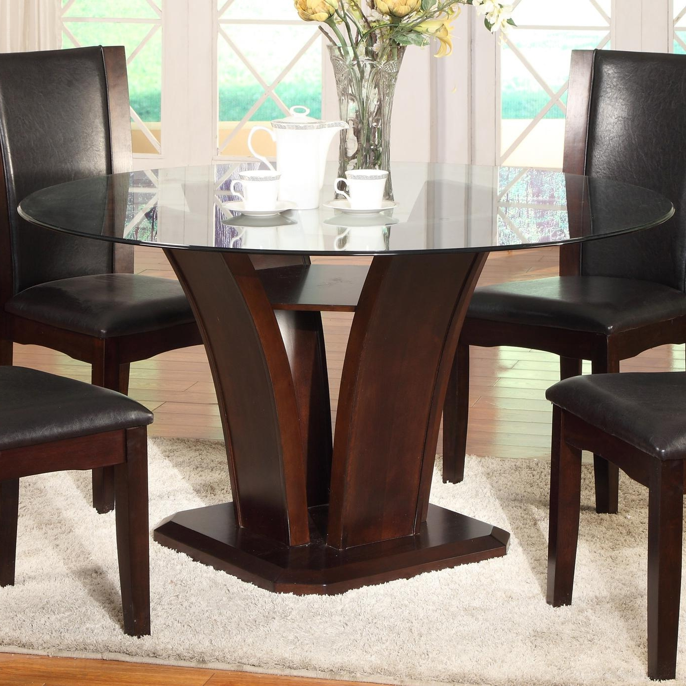 Round Dining Tables With Glass Top Throughout Most Popular Round Dining Table Crown Mark Camelia Espresso Glass Top (View 6 of 30)