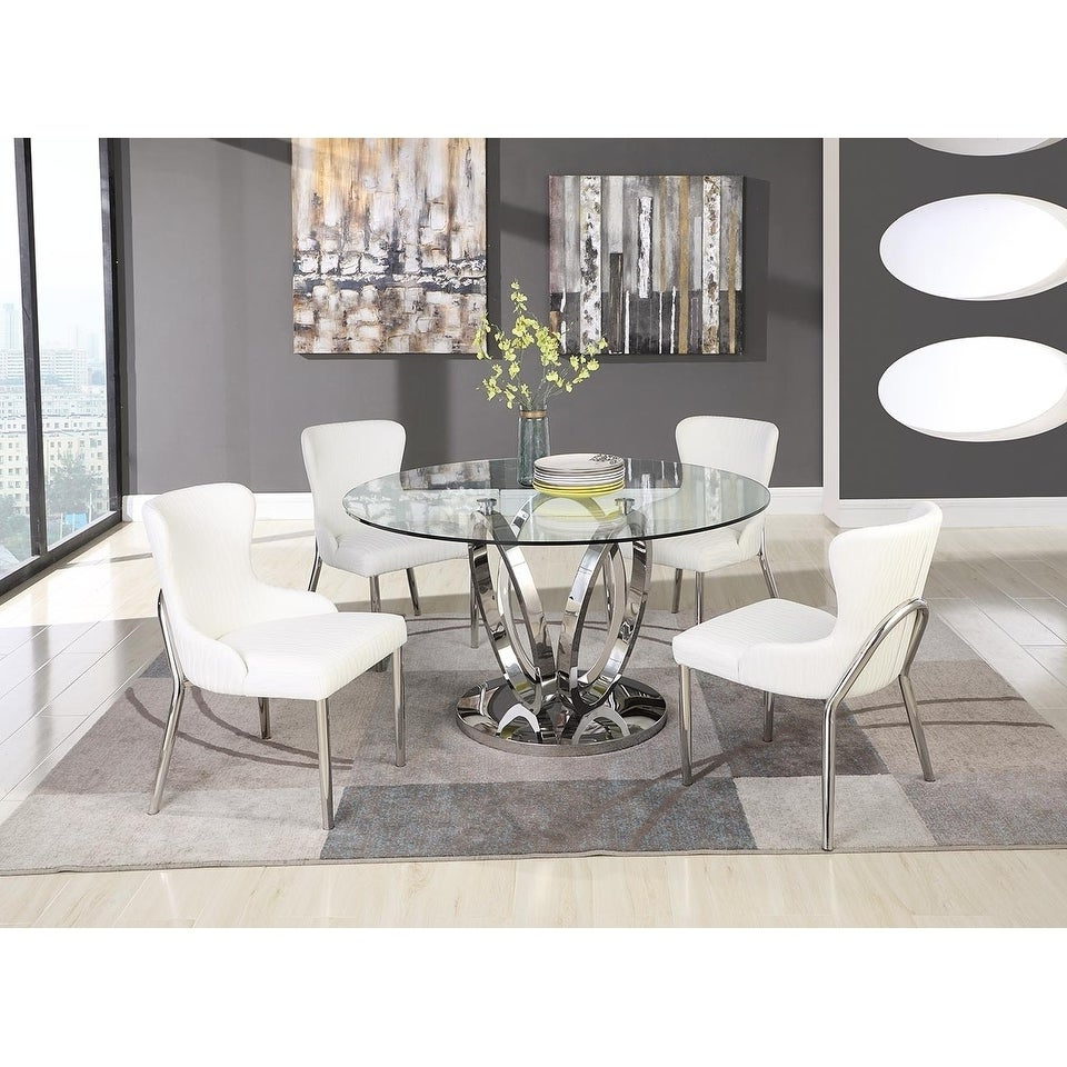 Round Glass Top Dining Tables For 2018 Somette Ema Round Glass Top Dining Table (View 24 of 30)