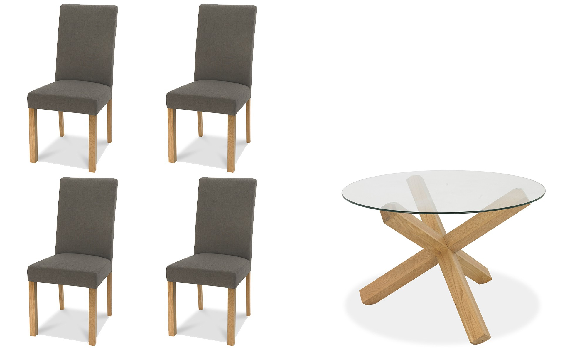 Round Glass Top Dining Tables For Well Liked Zephyr – 120cm Round Glass Top Dining Table & 4 Square Back Dining Chairs In Titanium Fabric (View 30 of 30)