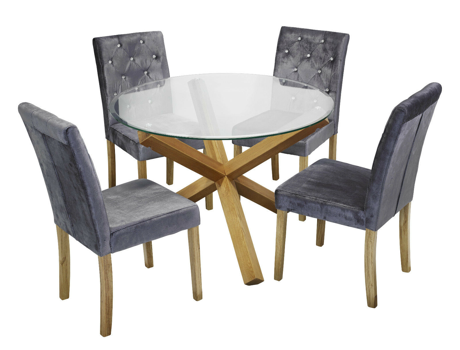 Round Glass Top Dining Tables Inside Preferred Details About Trend Solid Oak Round Glass Top Dining Table & 4 Amour Silver Fabric Chair Set (View 13 of 30)