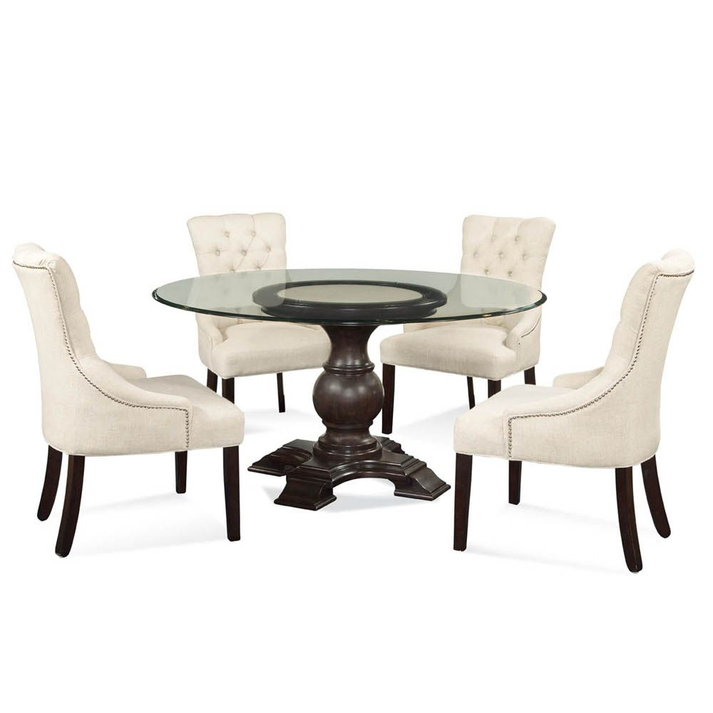 Round Glass Top Dining Tables Regarding Widely Used Round Glass Top Pedestal Dining Table (View 6 of 30)