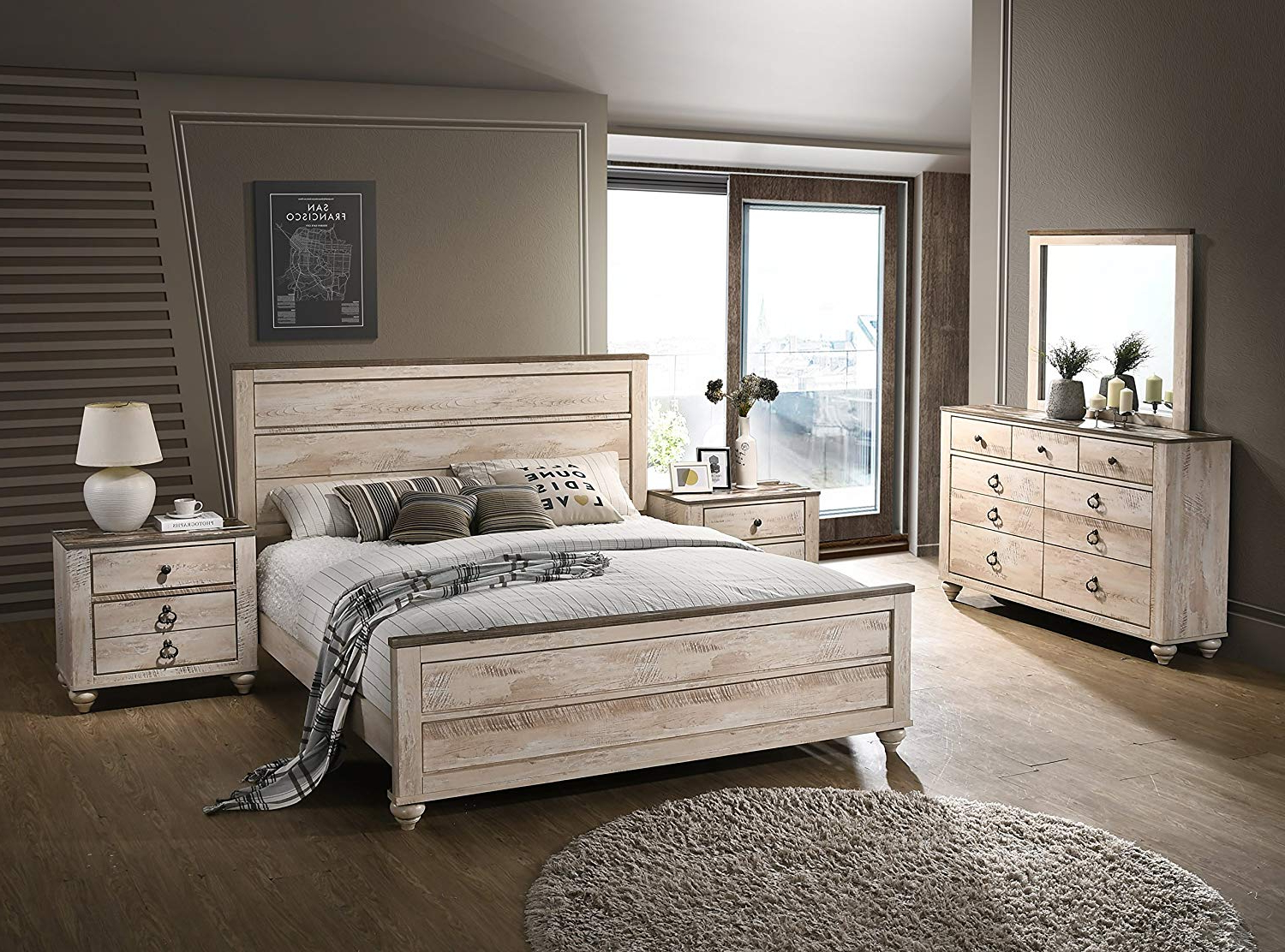 Roundhill Furniture Imerland Contemporary White Wash Finish 5 Piece Bedroom Set, Intended For Preferred Walnut And Antique White Finish Contemporary Country Dining Tables (View 26 of 30)
