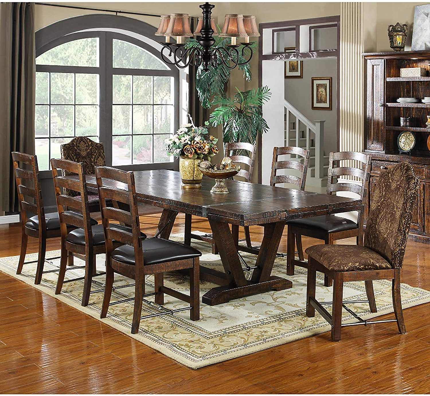 Rustic Country 8 Seating Casual Dining Tables With Regard To Best And Newest Amazon – Extra Long Dining Table Of Solid Wood With (View 7 of 30)